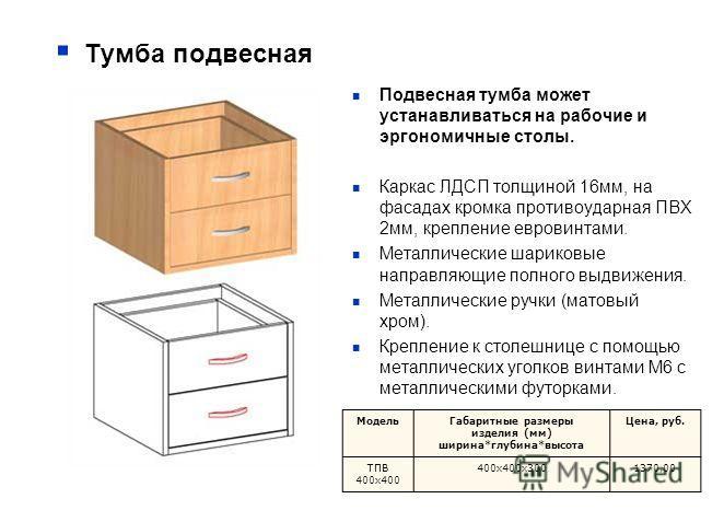 Тумба подвесная Подвесная тумба может устанавливаться на рабочие и эргономичные столы. Каркас ЛДСП толщиной 16мм, на фасадах кромка противоударная ПВХ 2мм, крепление евровинтами. Металлические шариковые направляющие полного выдвижения. Металлические
