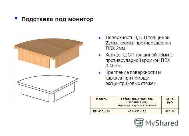 Подставка под монитор Поверхность ЛДСП толщиной 22мм, кромка противоударная ПВХ 2мм. Каркас ЛДСП толщиной 16мм с противоударной кромкой ПВХ 0,45мм. Крепление поверхности и каркаса при помощи эксцентриковых стяжек. МодельГабаритные размеры изделия (мм