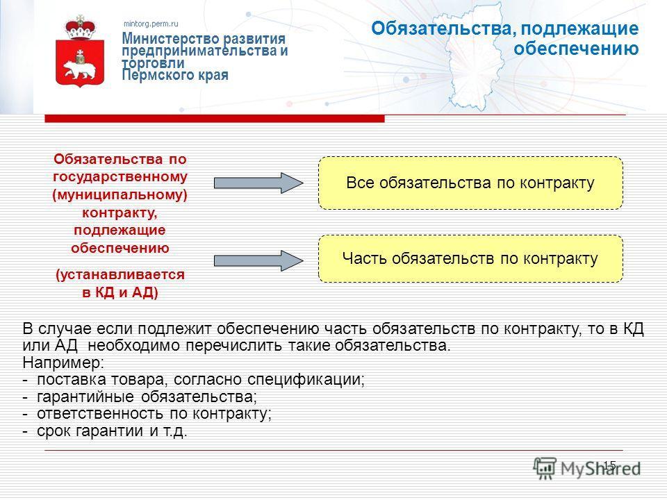 15 Министерство развития предпринимательства и торговли Пермского края Обязательства, подлежащие обеспечению Обязательства по государственному (муниципальному) контракту, подлежащие обеспечению (устанавливается в КД и АД) Все обязательства по контрак
