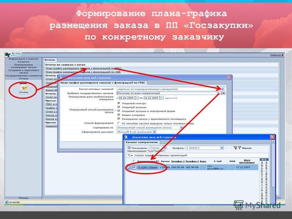 Формирование плана-графика размещения заказа в ПП «Госзакупки» по конкретному заказчику