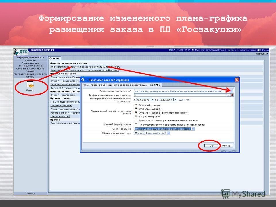 Формирование измененного плана-графика размещения заказа в ПП «Госзакупки»