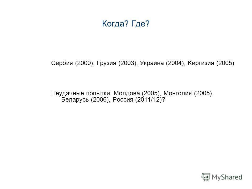 Когда? Где? Сербия (2000), Грузия (2003), Украина (2004), Kиргизия (2005) Неудачные попытки: Молдова (2005), Монголия (2005), Беларусь (2006), Россия (2011/12)?
