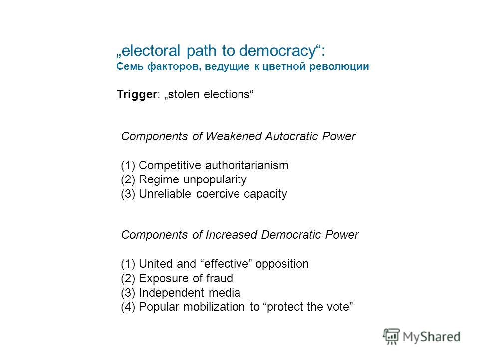 electoral path to democracy: Семь факторов, ведущие к цветной революции Trigger:stolen elections Components of Weakened Autocratic Power (1)Competitive authoritarianism (2)Regime unpopularity (3)Unreliable coercive capacity Components of Increased De