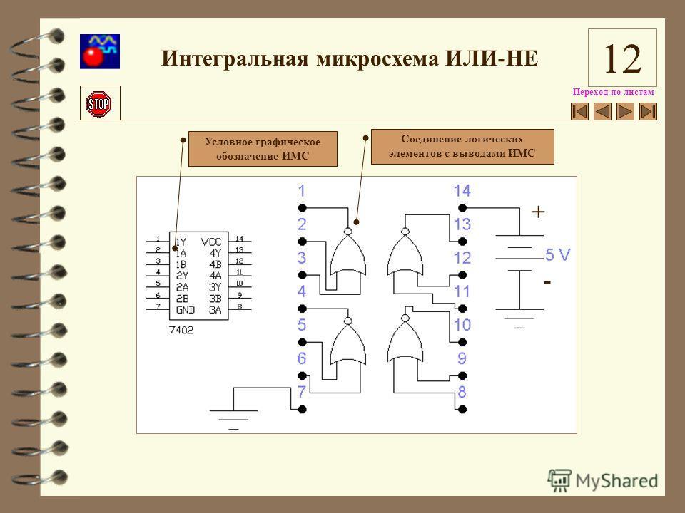 Переход по листам Интегральная микросхема ИЛИ-НЕ Условное графическое обозначение ИМС Соединение логических элементов с выводами ИМС + - 12