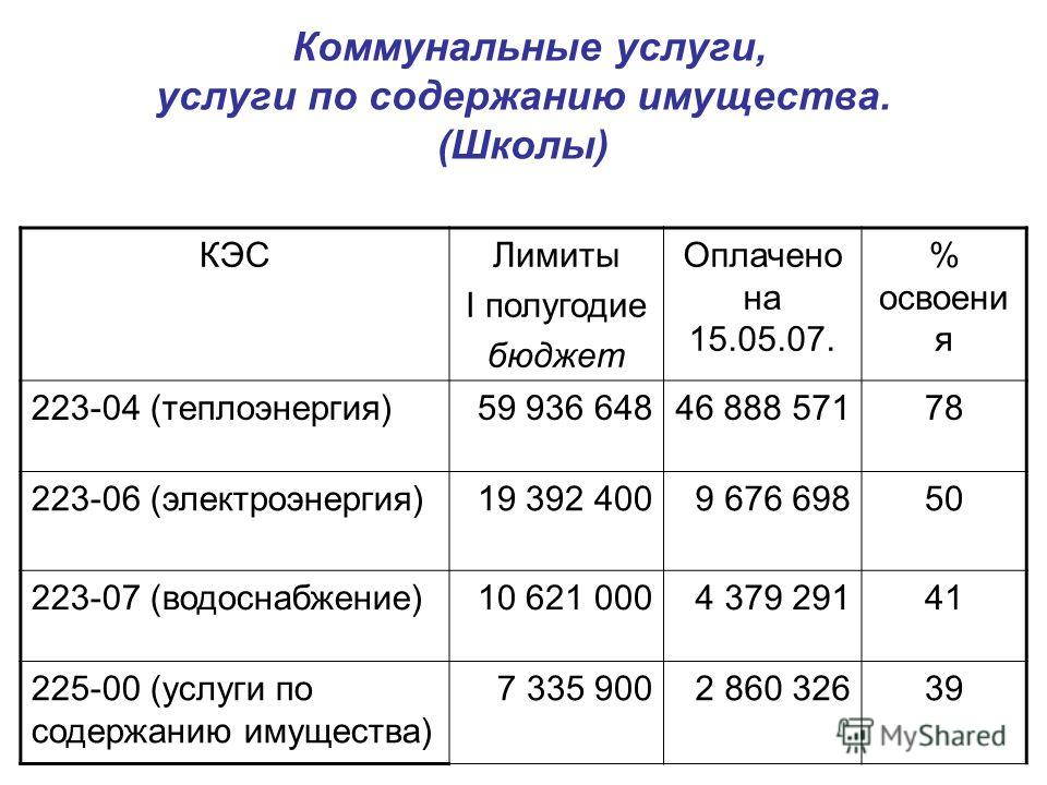 Коммунальные услуги, услуги по содержанию имущества. (Школы) КЭСЛимиты I полугодие бюджет Оплачено на 15.05.07. % освоени я 223-04 (теплоэнергия)59 936 64846 888 57178 223-06 (электроэнергия)19 392 4009 676 69850 223-07 (водоснабжение)10 621 0004 379