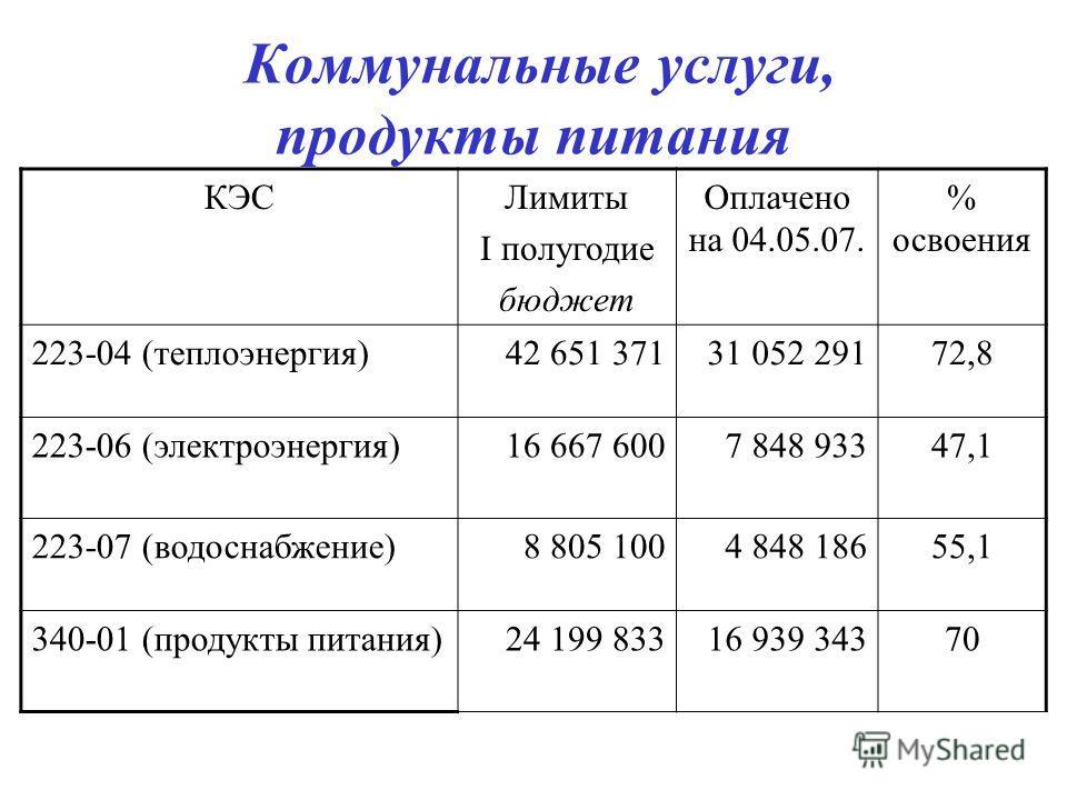 Коммунальные услуги, продукты питания КЭСЛимиты I полугодие бюджет Оплачено на 04.05.07. % освоения 223-04 (теплоэнергия)42 651 37131 052 29172,8 223-06 (электроэнергия)16 667 6007 848 93347,1 223-07 (водоснабжение)8 805 1004 848 18655,1 340-01 (прод
