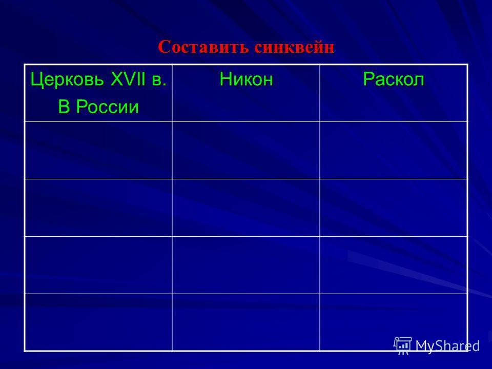 Составить синквейн Церковь XVII в. В России НиконРаскол