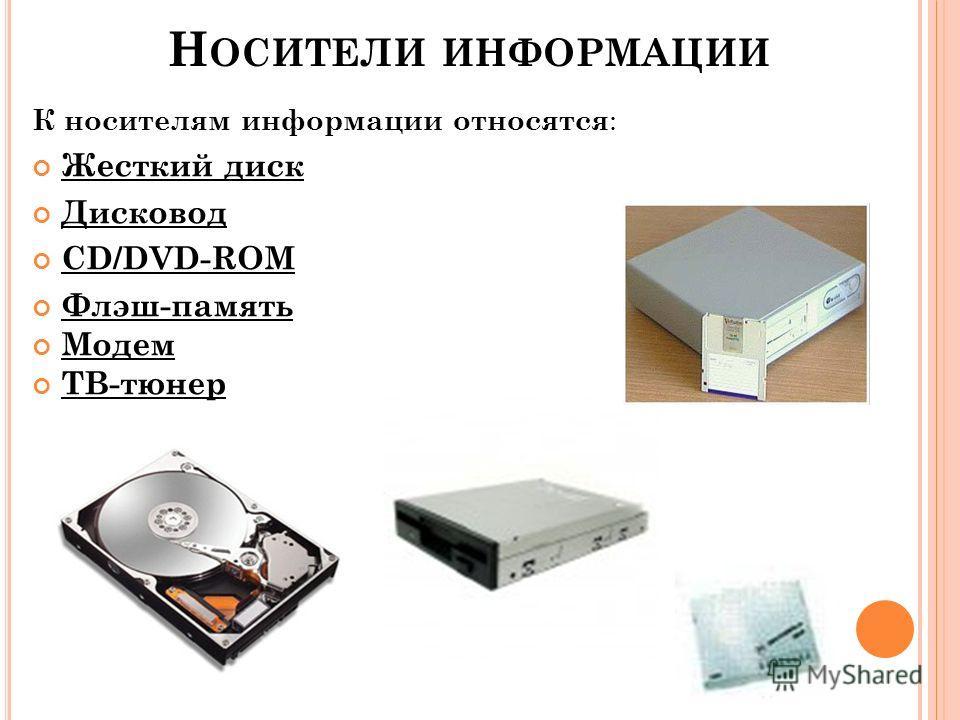 К носителям информации относятся : Жесткий диск Дисковод CD/DVD-ROM Флэш-память Модем ТВ-тюнер Н ОСИТЕЛИ ИНФОРМАЦИИ