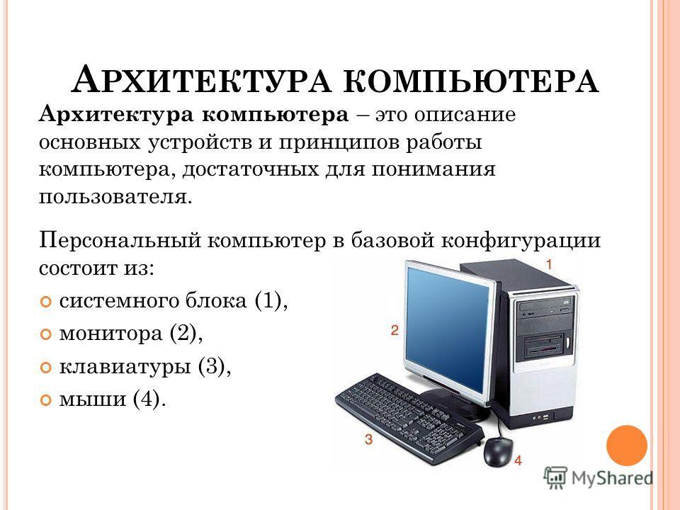 А РХИТЕКТУРА КОМПЬЮТЕРА Архитектура компьютера – это описание основных устройств и принципов работы компьютера, достаточных для понимания пользователя. Персональный компьютер в базовой конфигурации состоит из: системного блока (1), монитора (2), клав