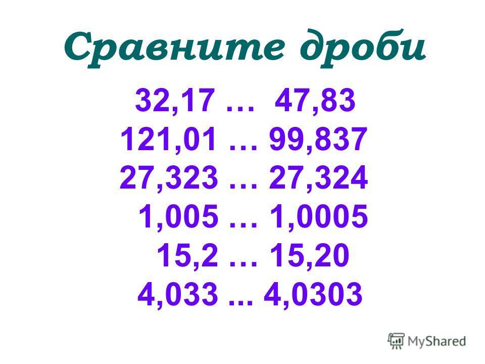 Сравните дроби 32,17 … 47,83 121,01 … 99,837 27,323 … 27,324 1,005 … 1,0005 15,2 … 15,20 4,033... 4,0303