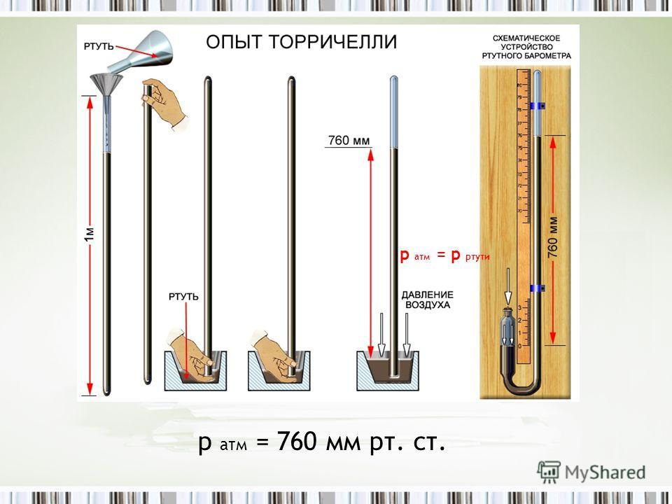 р атм = р ртути р атм = 760 мм рт. ст.
