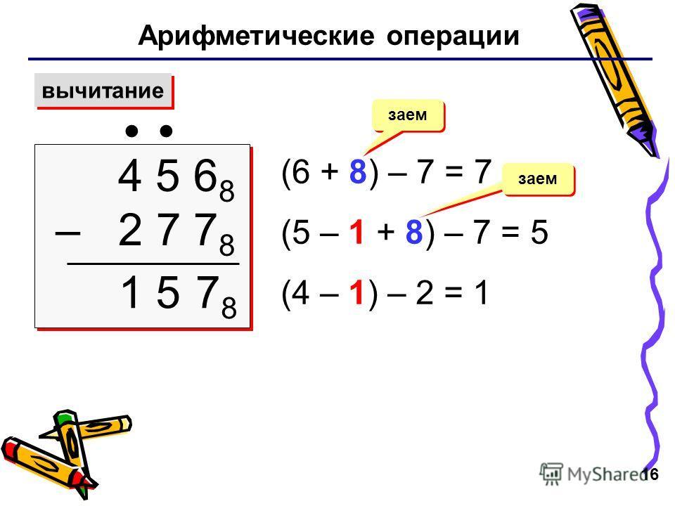16 Арифметические операции вычитание 4 5 6 8 – 2 7 7 8 4 5 6 8 – 2 7 7 8 (6 + 8) – 7 = 7 (5 – 1 + 8) – 7 = 5 (4 – 1) – 2 = 1 заем 7878 15