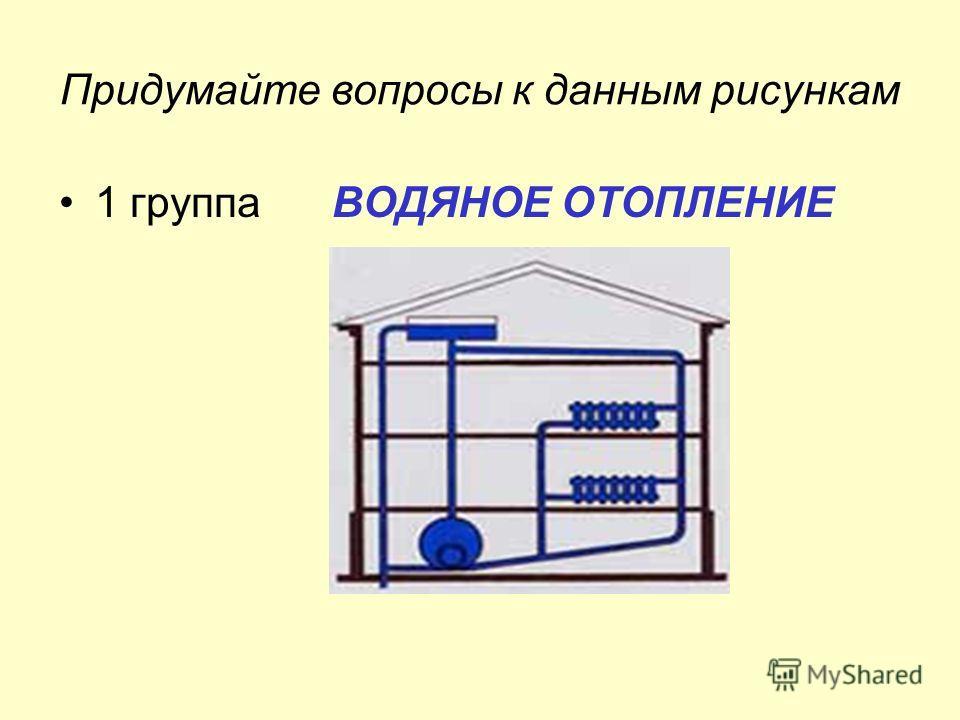 Придумайте вопросы к данным рисункам 1 группа ВОДЯНОЕ ОТОПЛЕНИЕ