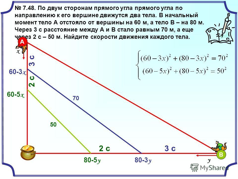 7.48. По двум сторонам прямого угла прямого угла по направлению к его вершине движутся два тела. В начальный момент тело А отстояло от вершины на 60 м, а тело В – на 80 м. Через 3 с расстояние между А и В стало равным 70 м, а еще через 2 с – 50 м. На