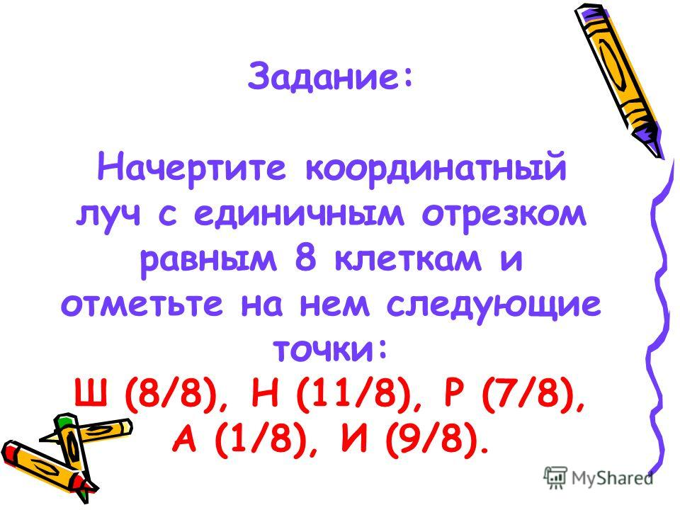 Задание: Начертите координатный луч с единичным отрезком равным 8 клеткам и отметьте на нем следующие точки: Ш (8/8), Н (11/8), Р (7/8), А (1/8), И (9/8).