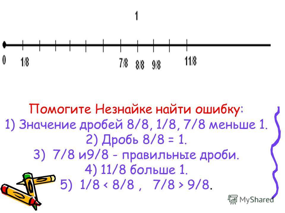 Помогите Незнайке найти ошибку: 1) Значение дробей 8/8, 1/8, 7/8 меньше 1. 2) Дробь 8/8 = 1. 3) 7/8 и9/8 - правильные дроби. 4) 11/8 больше 1. 5) 1/8 9/8.