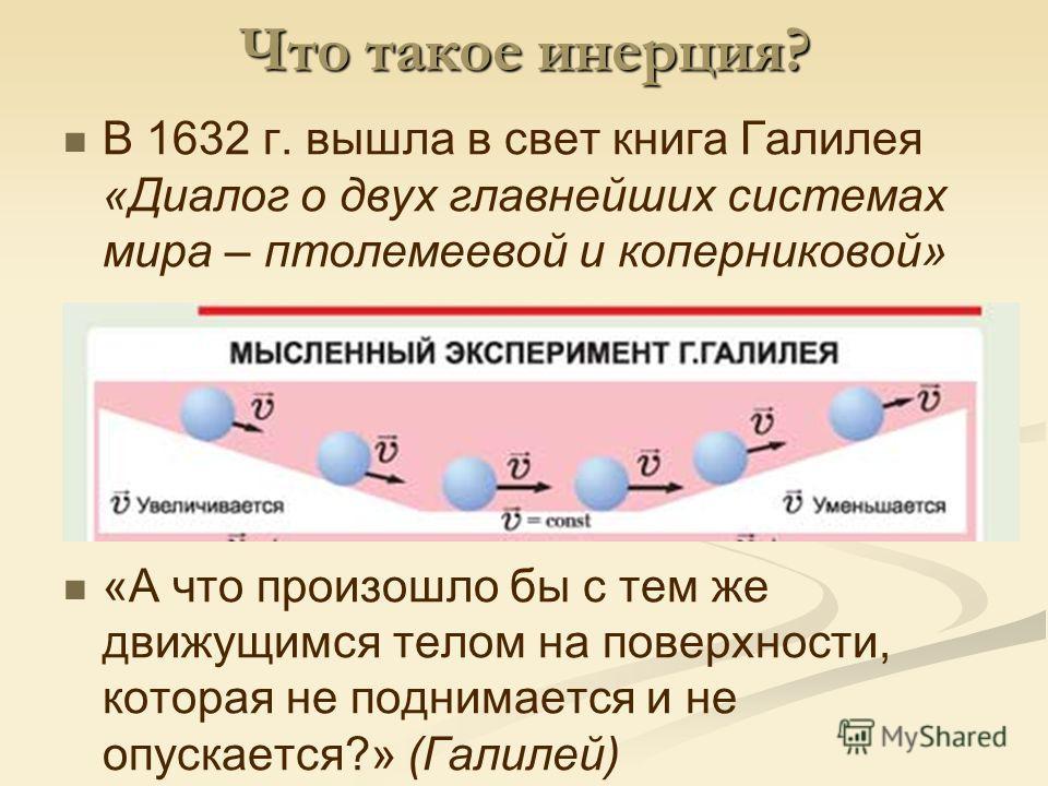 Что такое инерция? В 1632 г. вышла в свет книга Галилея «Диалог о двух главнейших системах мира – птолемеевой и коперниковой» «А что произошло бы с тем же движущимся телом на поверхности, которая не поднимается и не опускается?» (Галилей)