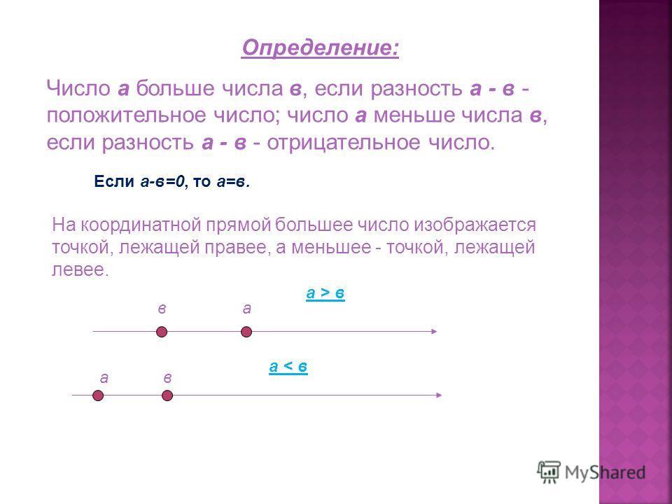 Определение: Число а больше числа в, если разность а - в - положительное число; число а меньше числа в, если разность а - в - отрицательное число. Если а-в=0, то а=в. На координатной прямой большее число изображается точкой, лежащей правее, а меньшее