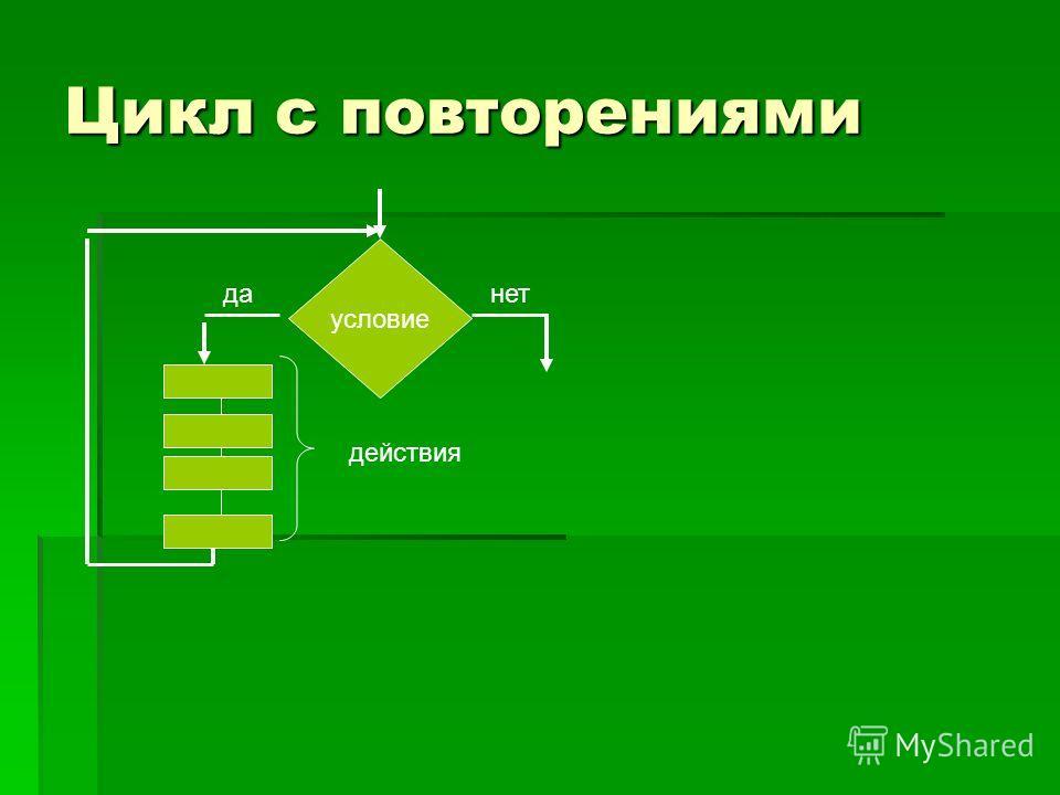 Цикл с повторениями условие данет действия