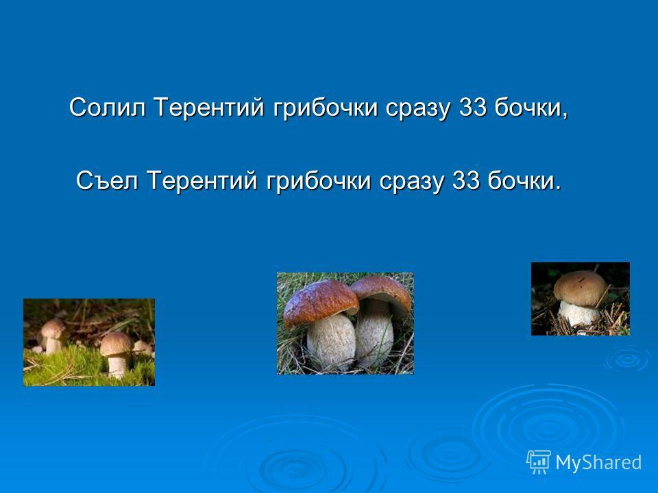 Солил Терентий грибочки сразу 33 бочки, Съел Терентий грибочки сразу 33 бочки.