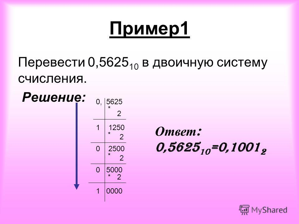 Пример1 Перевести 0,5625 10 в двоичную систему счисления. Решение: 0, 5625 * 2 1 1250 * 2 0 2500 * 2 0 5000 *2 1 0000 Ответ : 0,5625 10 =0,1001 2