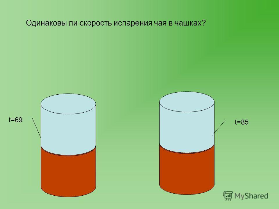 t=69 t=85 Одинаковы ли скорость испарения чая в чашках?