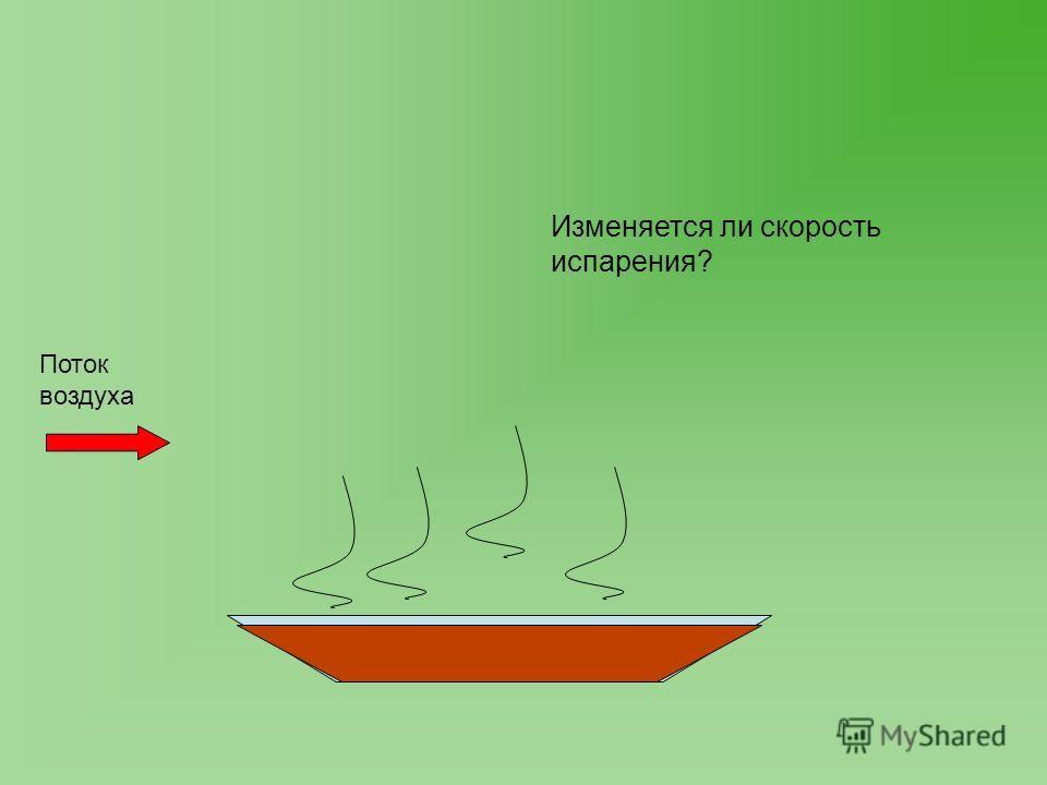 Поток воздуха Изменяется ли скорость испарения?