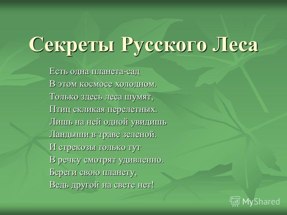 Секреты Русского Леса Есть одна планета-сад В этом космосе холодном. Только здесь леса шумят, Птиц скликая перелетных. Лишь на ней одной увидишь Ландыши в траве зеленой. И стрекозы только тут В речку смотрят удивленно. Береги свою планету, Ведь друго