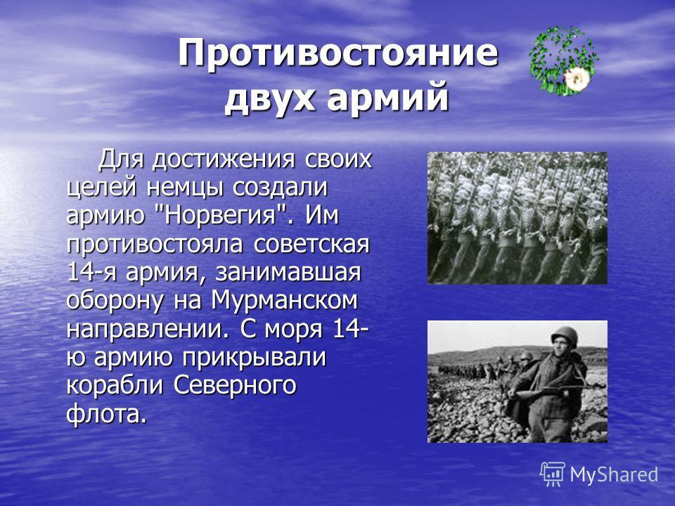 Противостояние двух армий Для достижения своих целей немцы создали армию