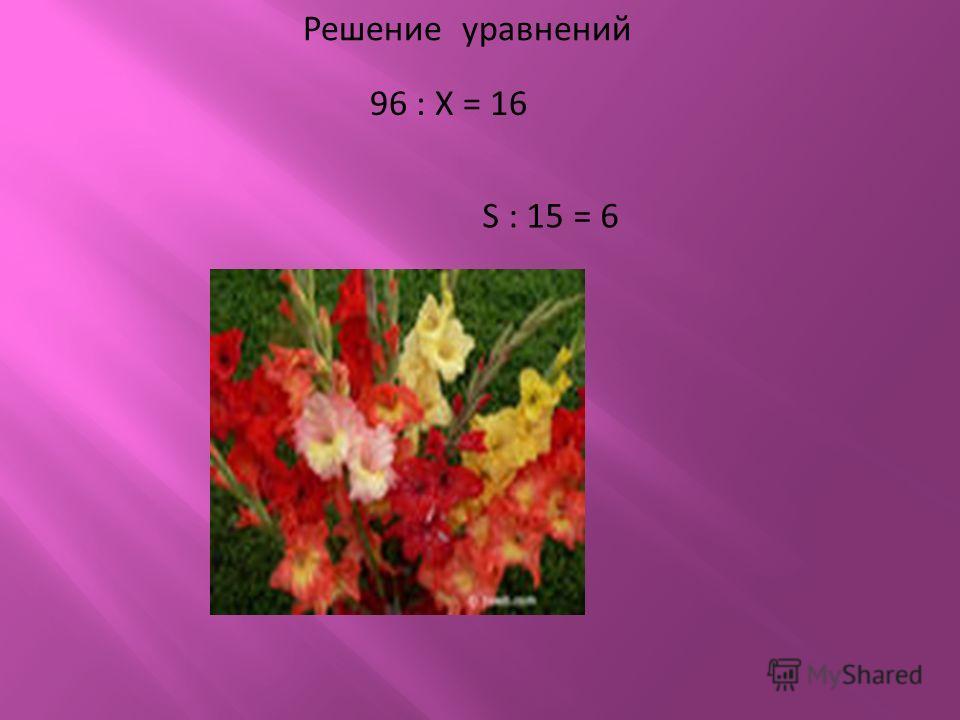 Решение уравнений 96 : Х = 16 S : 15 = 6
