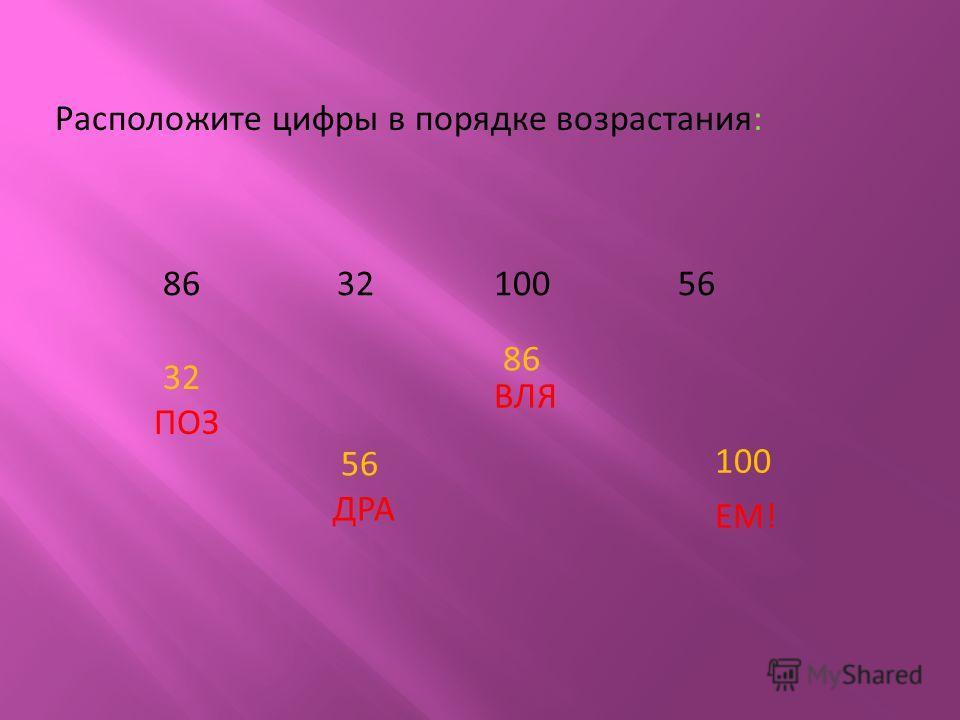 Расположите цифры в порядке возрастания: 86 32 100 56 32 ПОЗ 56 ДРА 86 ВЛЯ 100 ЕМ!