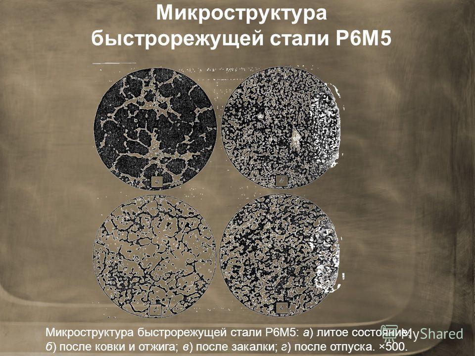 Микроструктура быстрорежущей стали Р6М5 Микроструктура быстрорежущей стали Р6М5: а) литое состояние; б) после ковки и отжига; в) после закалки; г) после отпуска. ×500.