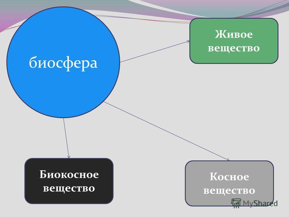 биосфера Живое вещество Биокосное вещество Косное вещество