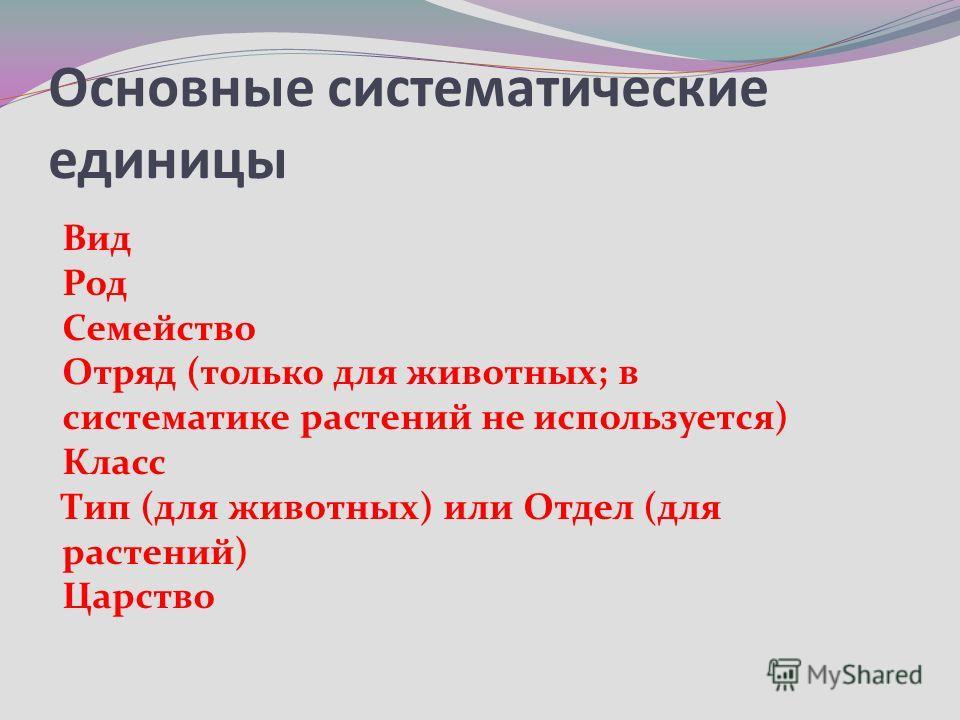 Основные систематические единицы Вид Род Семейство Отряд (только для животных; в систематике растений не используется) Класс Тип (для животных) или Отдел (для растений) Царство
