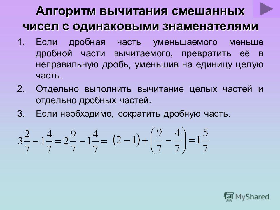 Алгоритм сложения смешанных чисел с одинаковыми знаменателями 1.Отдельно выполнить сложение целых частей и отдельно дробных частей. 2.Если при сложении дробных частей получилась неправильная дробь, выделить целую часть из этой дроби и прибавить ее к