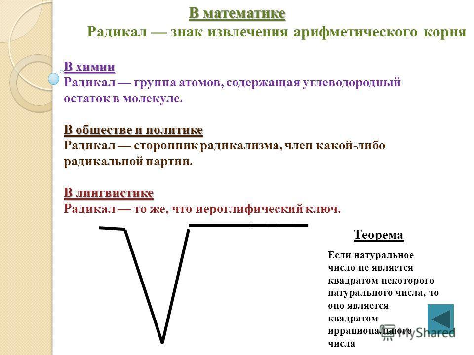 Корень (радикал) Радика́л (буквально: «коренной» от лат. radix «корень»). В математике В математике Радикал знак извлечения арифметического корня ( ). Вавилонская глиняная табличка с примечаниями.
