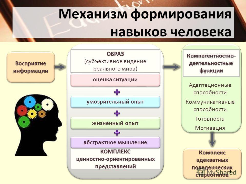 Комплекс адекватных поведенческих стереотипов Механизм формирования навыков человека 4 Восприятие информации ОБРАЗ (субъективное видение реального мира) КОМПЛЕКС ценностно-ориентированных представлений оценка ситуации умозрительный опыт жизненный опы