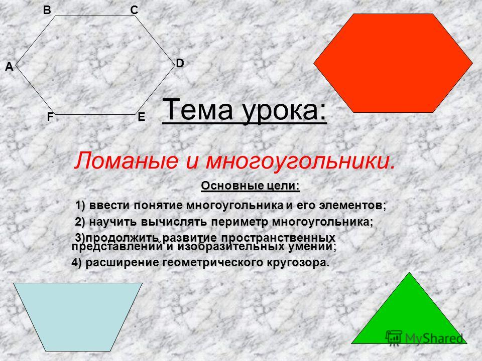 Тема урока: Ломаные и многоугольники. А ВС D ЕF Основные цели: 1) ввести понятие многоугольника и его элементов; 1) ввести понятие многоугольника и его элементов; 2) научить вычислять периметр многоугольника; 2) научить вычислять периметр многоугольн