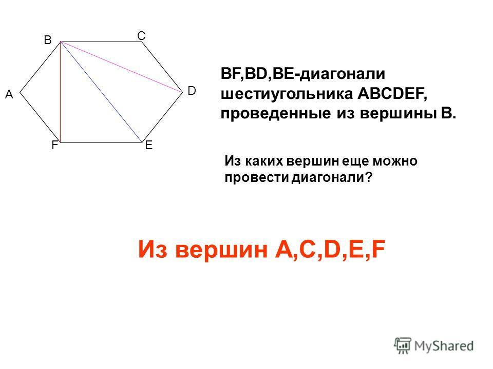 А В С D ЕF BF,BD,BE-диагонали шестиугольника ABCDEF, проведенные из вершины В. Из каких вершин еще можно провести диагонали? Из вершин А,С,D,E,F