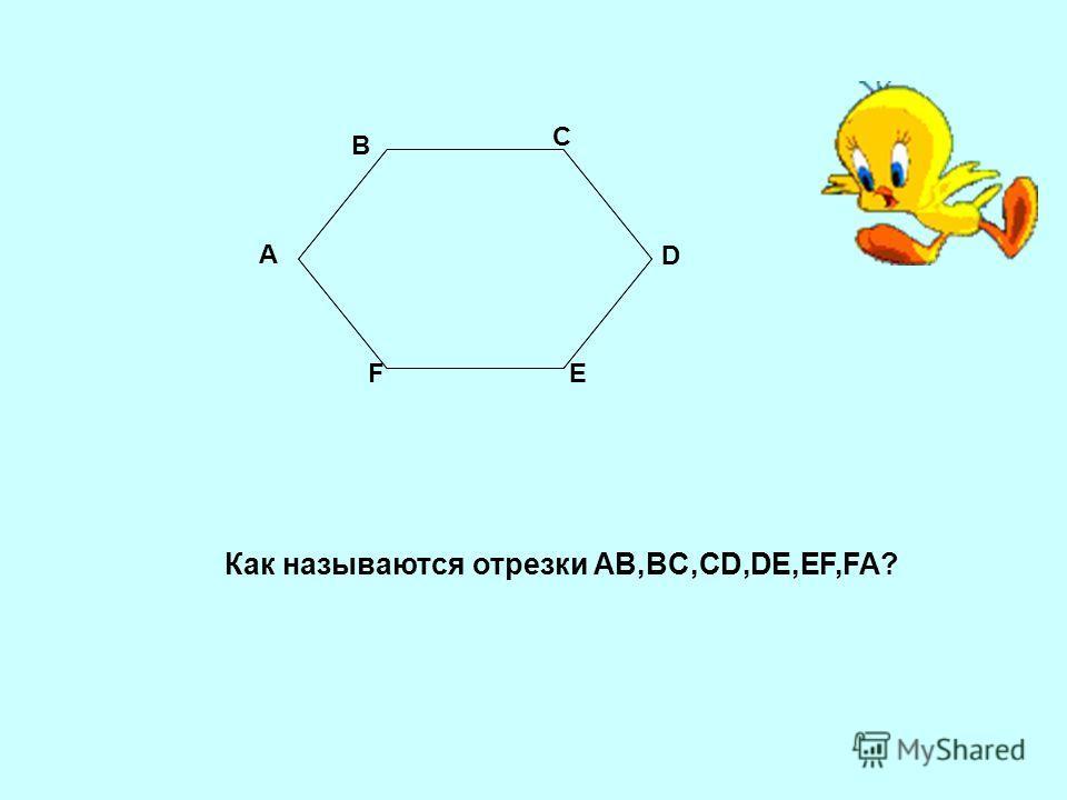 А В С D ЕF Как называются отрезки AB,BC,CD,DE,EF,FA?