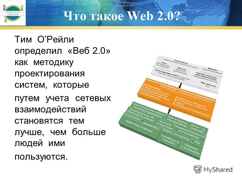Что такое Web 2.0? Тим ОРейли определил «Веб 2.0» как методику проектирования систем, которые путем учета сетевых взаимодействий становятся тем лучше, чем больше людей ими пользуются.