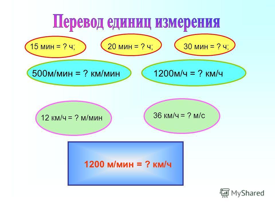 15 мин = ? ч;20 мин = ? ч;30 мин = ? ч; 500м/мин = ? км/мин1200м/ч = ? км/ч 12 км/ч = ? м/мин 36 км/ч = ? м/с 1200 м/мин = ? км/ч