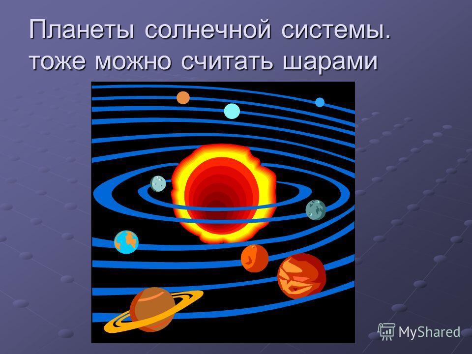 Планеты солнечной системы. тоже можно считать шарами