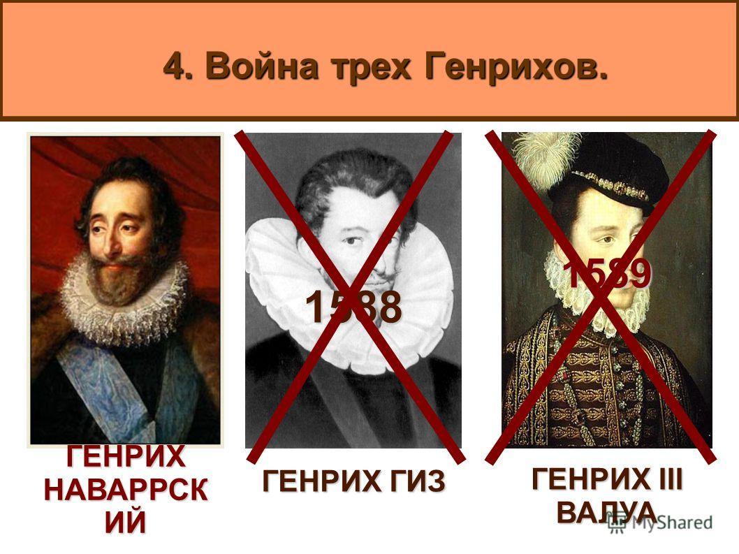 4. Война трех Генрихов. ГЕНРИХ НАВАРРСК ИЙ 1589 ГЕНРИХ III ВАЛУА 1588 ГЕНРИХ ГИЗ