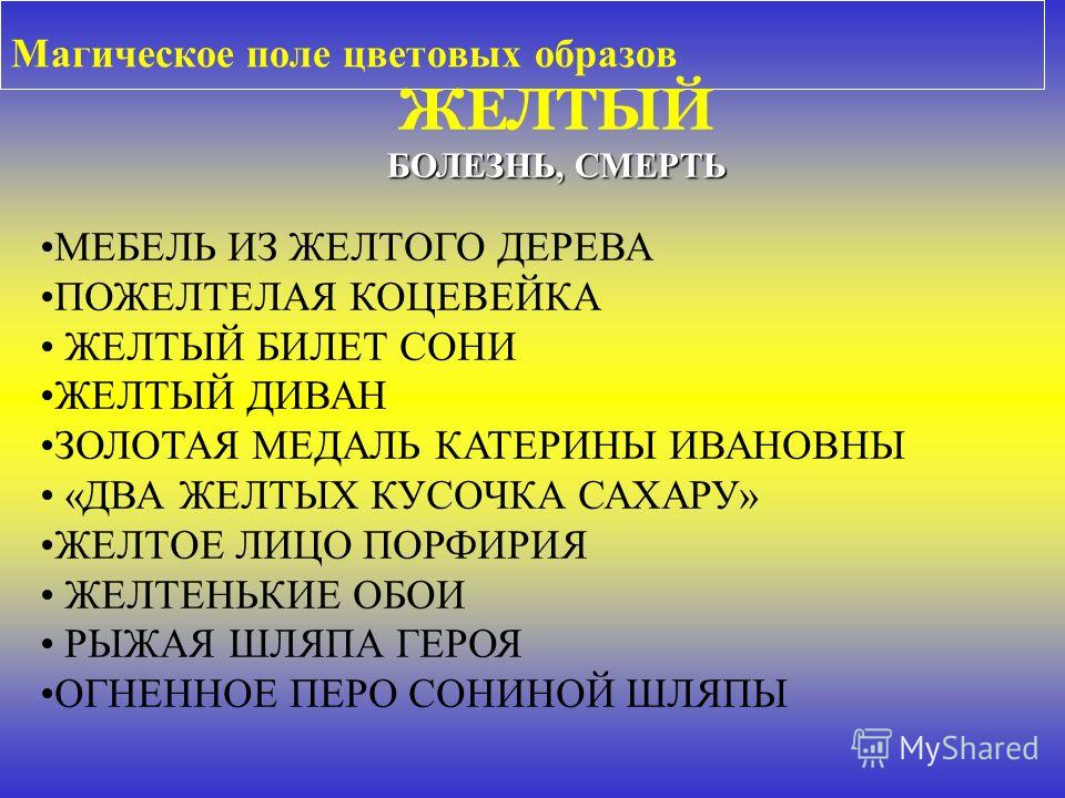 Магическое поле цветовых образов МЕБЕЛЬ ИЗ ЖЕЛТОГО ДЕРЕВА ПОЖЕЛТЕЛАЯ КОЦЕВЕЙКА ЖЕЛТЫЙ БИЛЕТ СОНИ ЖЕЛТЫЙ ДИВАН ЗОЛОТАЯ МЕДАЛЬ КАТЕРИНЫ ИВАНОВНЫ «ДВА ЖЕЛТЫХ КУСОЧКА САХАРУ» ЖЕЛТОЕ ЛИЦО ПОРФИРИЯ ЖЕЛТЕНЬКИЕ ОБОИ РЫЖАЯ ШЛЯПА ГЕРОЯ ОГНЕННОЕ ПЕРО СОНИНОЙ ШЛ