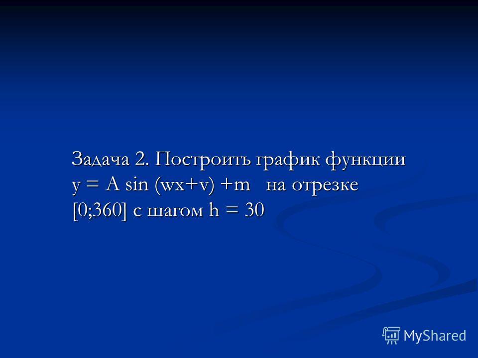 Задача 2. Построить график функции у = А sin (wx+v) +m на отрезке [0;360] с шагом h = 30
