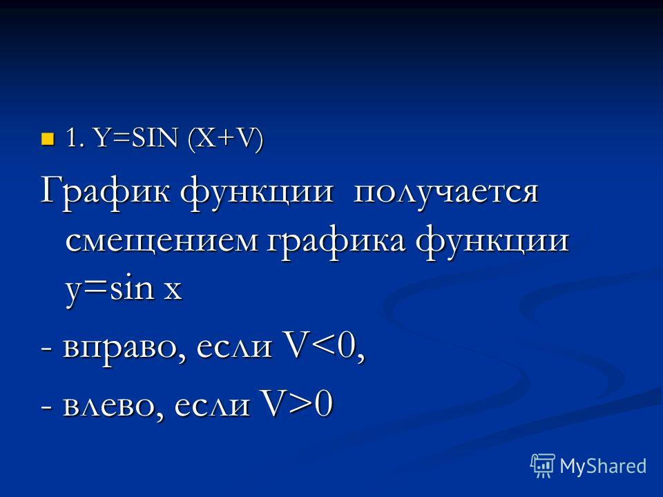1. Y=SIN (X+V) 1. Y=SIN (X+V) График функции получается смещением графика функции y=sin x - вправо, если V0