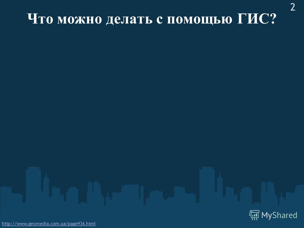 Что можно делать с помощью ГИС? http://www.geomedia.com.ua/page934.html 2