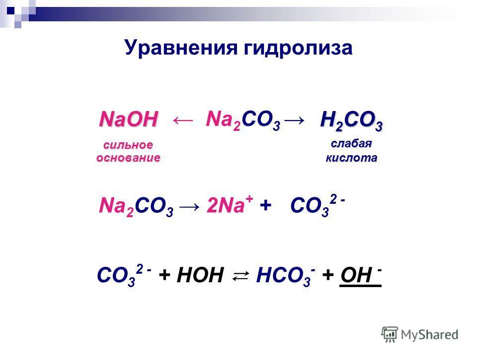 Уравнения гидролиза Na 2 CO 3 NaOH сильное основание H 2 CO 3 слабая кислота Na 2 CO 3 2Na + + CO 3 2 - CO 3 2 - + HOH HCO 3 - + OH -