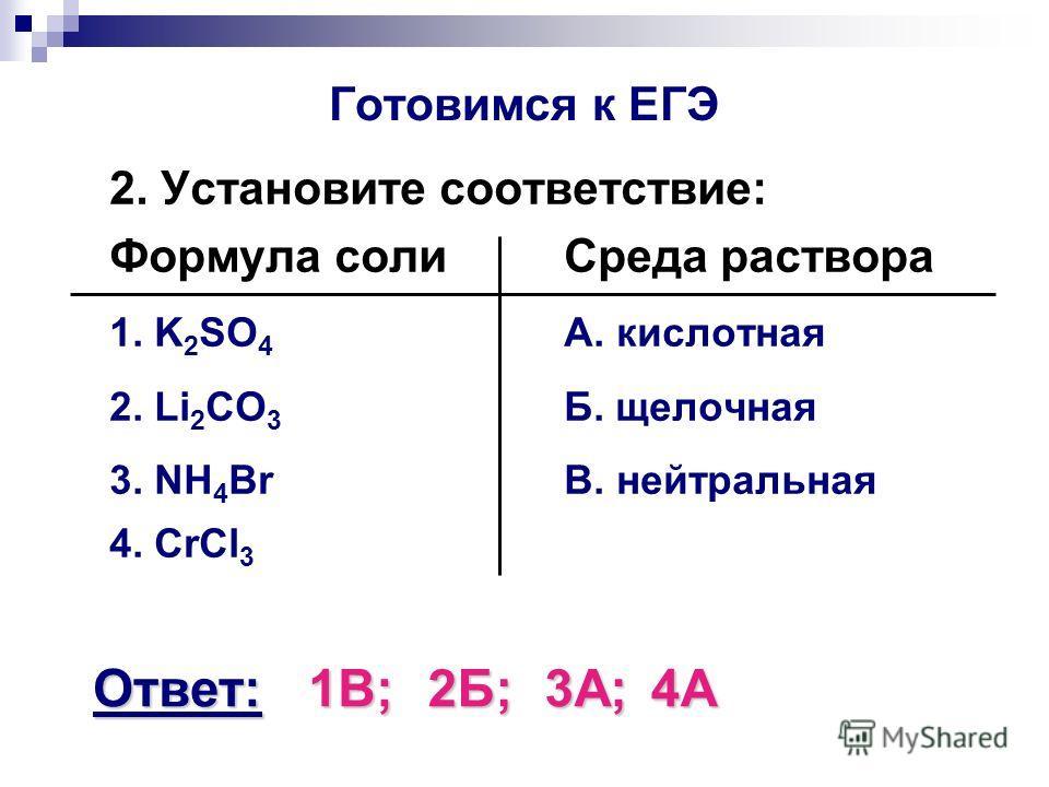 Готовимся к ЕГЭ 2. Установите соответствие: Формула солиСреда раствора 1. K 2 SO 4 А. кислотная 2. Li 2 CO 3 Б. щелочная 3. NH 4 BrВ. нейтральная 4. CrCl 3 Ответ:1В;2Б;3А;4А